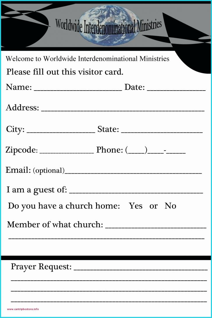 Permalink to Fresh Church Visitor Card Template